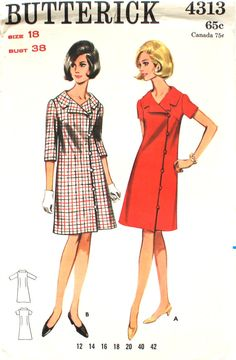 c968c4aa70 UNCUT 1960 s Coatdress Bust 38 Butterick 4313 by SewVintageNow Coatdress