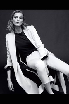 Daria Werbowy: The Edge of Spring | Coats and jeans, Proenza Schouler. Shirt, T by Alexander Wang.