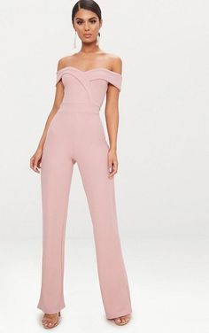 Pink Crepe Bardot Folded Detail JumpsuitIn a dreamy dusty pink crepe fabric, with a flattering fo. Prom Jumpsuit, Formal Jumpsuit, Wedding Jumpsuit, Jumpsuit Outfit, Lace Jumpsuit, Jumpsuits For Sale, Jumpsuits For Women, Celebrity Casual Outfits, Forever21