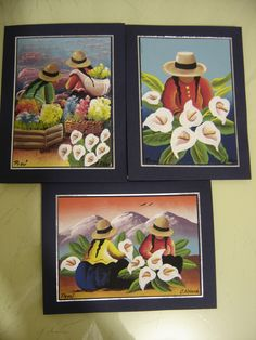 UN TRIO DE FLORISTAS Lily Painting, Fabric Painting, Artist Painting, Mexican Paintings, Old Paintings, Peruvian Art, Flower Doodles, Mexican Folk Art, Angel Art