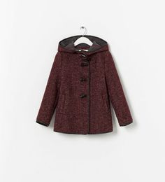 ZARA - KIDS - COAT WITH FAUX LEATHER EDGING