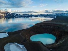 Öskjuvatn Lake and the Viti Crater in Askja, Iceland