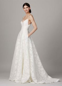 8d600dbefa6 17 Best Dresses From Bridal Fashion Week  Demure damask looks so elegant  with this sweet