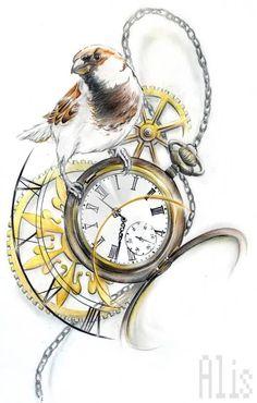 Bird On Clock Tattoo Design