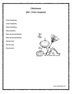 Chansons - Prescolaire - L'Automne - Chanson à imprimer en .pdf Core French, French Class, French Lessons, French Teaching Resources, Teaching French, French Poems, Kindergarten Songs, French Education, French Immersion