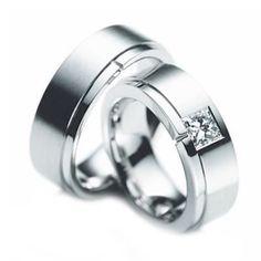 10k White Gold Polish Flat Ladies And Mens Wedding Bands 0.2 Ctw Princess Diamond 7mm 02131