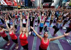 Time Square transformed into Yoga class