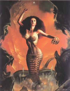 Nāga is the Sanskrit word for a deity or class of entity or being, taking the form of a very great snake—specifically the King Cobra, found in Hinduism and Buddhism (Boris Vallejo). #Mythology, #Indian, #Serpent