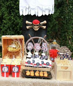 merienda fiesta pirata niños decoración cumpleaños calavera snack pirate party children kids birthday decoration skull miraquechulo