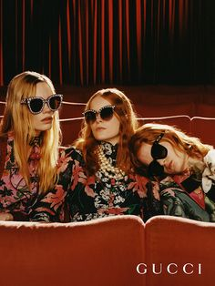 Cat-eye shapes adorned with pearls, round-frames with stars and shimmering oversized sunglasses feature in the new Fall Winter 2017 Gucci Eyewear campaign shot by Colin Dodgson. Creative director: Alessandro Michele Art director: Christopher Simmonds