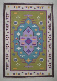 Green Dhurrie Rug - 4x6, Bohemian Rug, Cotton Rug, Traditional Rug, Indian Rug…