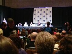 Arrow panel with Kelly Hu (China White), Seth Gabel (Count Vertigo), Janina Gavankar (Makenna Hall), John Barrowman (Malcom Merlin) and Manu Bennett (Slade Wilson). Great panel. They play off each other very well. Love that Barrowman wants to see all the hot guys naked on the show. Can't say I'm against it either.