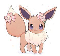 "kuwuri: """" ✿ Eevee ✿ "" "" <<< omg it's soo cute 😊 Pokemon Mew, Pikachu Art, Pokemon Eeveelutions, Eevee Evolutions, Pokemon Fan Art, Pokemon Fusion, Pokemon Cards, Pokemon Tattoo, Pokemon Funny"