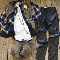 """This #OOTD is to die for!  #fauxfur #vest- 49.99 S&L #plaidshirt- 36.99 S-L #zsupply #tank- 24.99 XS-L #leatherette #pants- 32.99 3,7,9,11,13 #fringebooties- 76.99  6.5,7,7.5,8&9 #PinkPanache #earring- 39.99 #gspinelli necklace- 135.00  Call us to order! We #ship!  #goshopdcs #OOTD #winter2015 #shoplocal #goshopdcs"" Photo taken by @daviscountrystore on Instagram, pinned via the InstaPin iOS App! http://www.instapinapp.com (12/09/2015)"