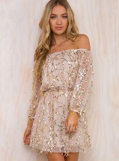 Stars Align Off The Shoulder Mini Dress