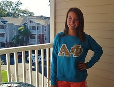 DIY sorority lettered shirts! What a great craft idea for your little!