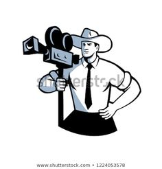 Retro style illustration of a cowboy cameraman holding a vintage movie film camera with hands on hip viewed from front on isolated background. Fashion Illustration Vintage, Illustration Art, Hands On Hips, Logo Concept, Vintage Hollywood, Cool Style, Retro Style, Vintage Movies, New Pictures