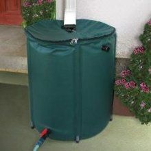 A collapsible rain barrel.  Capturing the rain runoff makes it environmentally friendly - collapsible makes it sustainable (and easy to maintain)!
