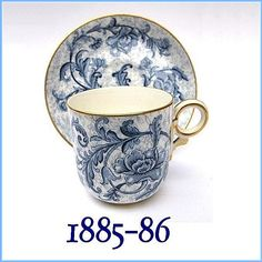 19th Century Antique Royal Worcester Demi Tasse Cup and Saucer