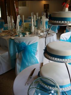 Simple but effective turquoise wedding cake