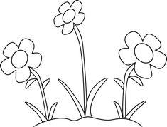 Flower Garden Clipart Black And White in 2020 Clipart black and white Line art flowers White flower clip