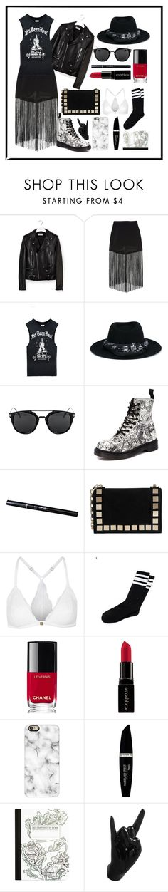 """Black #2"" by kisskatabogi ❤ liked on Polyvore featuring Yves Saint Laurent, Line + Dot, UNIF, Maison Michel, Dr. Martens, Tomasini, Topshop, Chanel, Smashbox and Casetify"