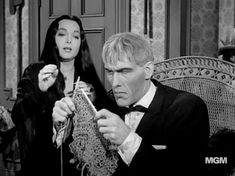 Addams family knitter, Lurch.