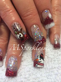 Rain deer & snowman nails