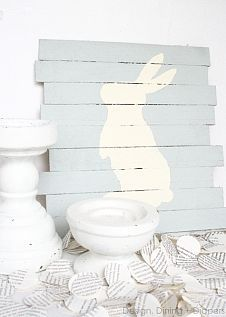 Bunny Pallet Art To kick off this fresh and new season I put together a little piece of simple pallet decor that screams Easter and spr...#/1027819/bunny-pallet-art?&_suid=136148588035205877255014439164