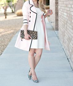 Pattern Mixing :: Polka Dot Pumps & Leopard Clutch - Glamour-Zine ( pink trench coat, summer white dress )