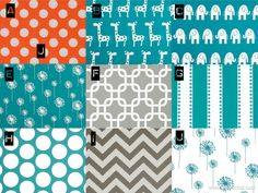 Turquoise Orange Grey and White Chevron Giraffe Polka Dot Baby Bedding