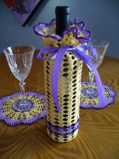 Crochet Wine Bottle Cozy and two doilies Yellow Lilac and