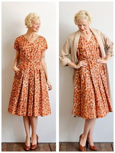 1950s Dress & Coat // Fall Blossom Dress and by dethrosevintage, $165.00