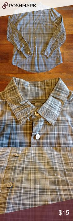 John Varvatos PLAID shirt John Varvatos button down long sleeve shirt, plaid. You can roll up the sleeves if you want. Hidden front pocket. Plaid, multi colored -  green, white, and black. Size Small, runs standard fit. 💯 Cotton John Varvatos Shirts Casual Button Down Shirts