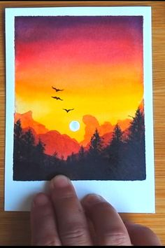 How to draw sunset landscape step by step tutorial for beginner easy DIY Watercolor Art Lessons, Watercolor Paintings For Beginners, Canvas Painting Tutorials, Simple Canvas Paintings, Easy Canvas Art, Small Canvas Art, Watercolor Techniques, Beginner Painting, Acrylic Painting For Beginners Step By Step