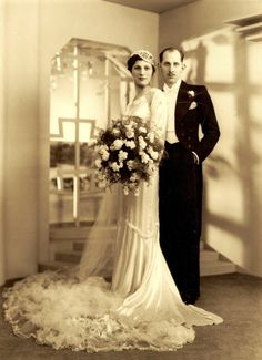 Mr and Mrs Simmons were photographed by Boris Bennett for their wedding in 1935.