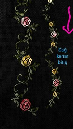 This Pin was discovered by bet Cross Stitch Borders, Prayer Rug, Hand Embroidery, Diy And Crafts, Projects To Try, Crochet, Pattern, Handmade, Design