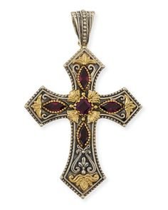 Silver+&+18k+Rhodolite+Cross+Pendant+by+Konstantino+at+Neiman+Marcus.