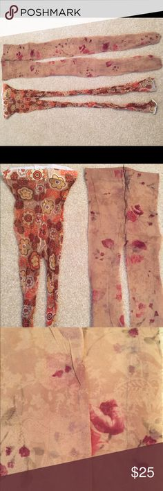 """2 pairs sheer floral pantyhose tights leggings Purchased from Bloomingdales for $26+tax each. They've only been worn twice each and are made of 85% nylon, 15% Lycra. Very soft and high quality. One is a fun orange toned floral print in sheer footless tights / leggings and other is an elegant ivory floral in sheer to waist pantyhose tights. When you wear these it will look like your legs are tattooed with flowers! Very arty as featured in a Vogue editorial. These best fit someone who is 5'6""""…"""