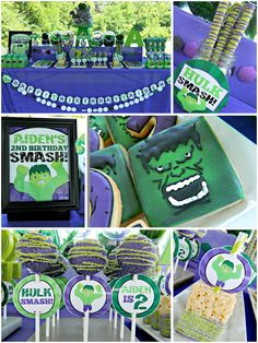 Diy Incredible Hulk Marvel Superhero Birthday Party Digital Printable Party Package - just do the foods/decorations but not all the hulk stuff. Hulk Birthday Parties, Superhero Birthday Party, Boy Birthday, Birthday Ideas, Incredible Hulk Party, Personalized Happy Birthday Banner, Sprinkle Party, Avengers Birthday, Hulk Marvel