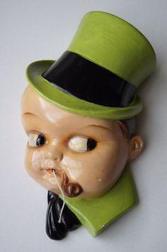 Vintage Googly Eye Chalkware Boy String Holder