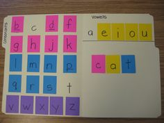 Making Words... I've seen these with velcro, and I may do that (since I already have the letters made/ laminated), but I like the idea of having them in a folder!