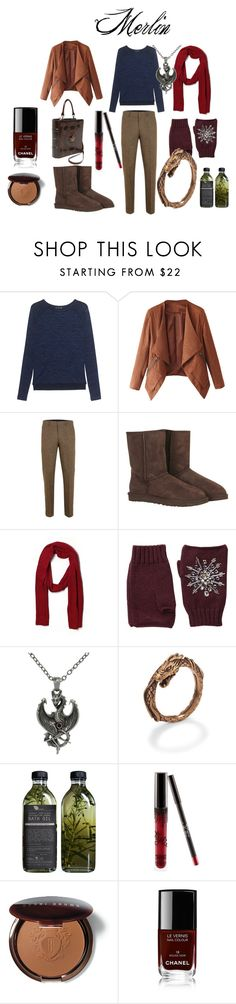 """""""Merlin Inspired Outfit"""" by lulu-the-guinea-pig ❤ liked on Polyvore featuring rag & bone, UGG Australia, Tommy Hilfiger, San Diego Hat Co., Carolina Glamour Collection, AMBRE, Kylie Cosmetics, Bobbi Brown Cosmetics and Chanel"""