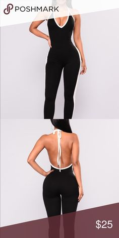 Common Grounds Jumpsuit - Halter Jumpsuit w/ V neck - Polyester and Spandex Material Fashion Nova Pants Jumpsuits & Rompers