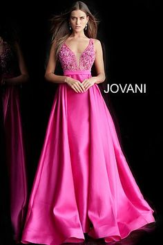 1c6850893d5 Fuchsia Embellished Bodice V Neck Prom Gown 60016