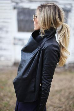 wrap leather jacket and soft caramel hair - spring