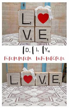Fun Valentine's DIY --- DIY valentines decor wooden letter blocks. Valentines Bricolage, Valentine Day Crafts, Love Valentines, Holiday Crafts, Holiday Fun, Fun Crafts, Valentine Nails, Saint Valentine, Valentines Day Party