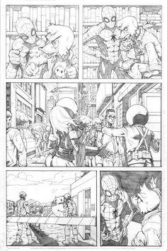 Marvel comics pencils for Spider-Man : Back in Quack
