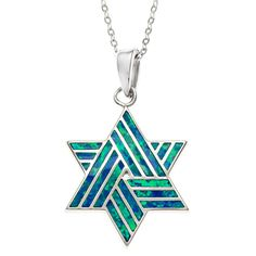 Shop for La Preciosa Sterling Silver Blue Opal Star of David Pendant. Get free delivery On EVERYTHING* Overstock - Your Online Jewelry Shop! Blue Gemstones, Gemstone Colors, Star Jewelry, Silver Jewelry, Chain Jewelry, Pendant Jewelry, Star Of David Pendant, Jewish Jewelry, Star Necklace