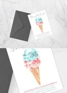 Modern Watercolor Ice Cream Invite. Printables. $8.00